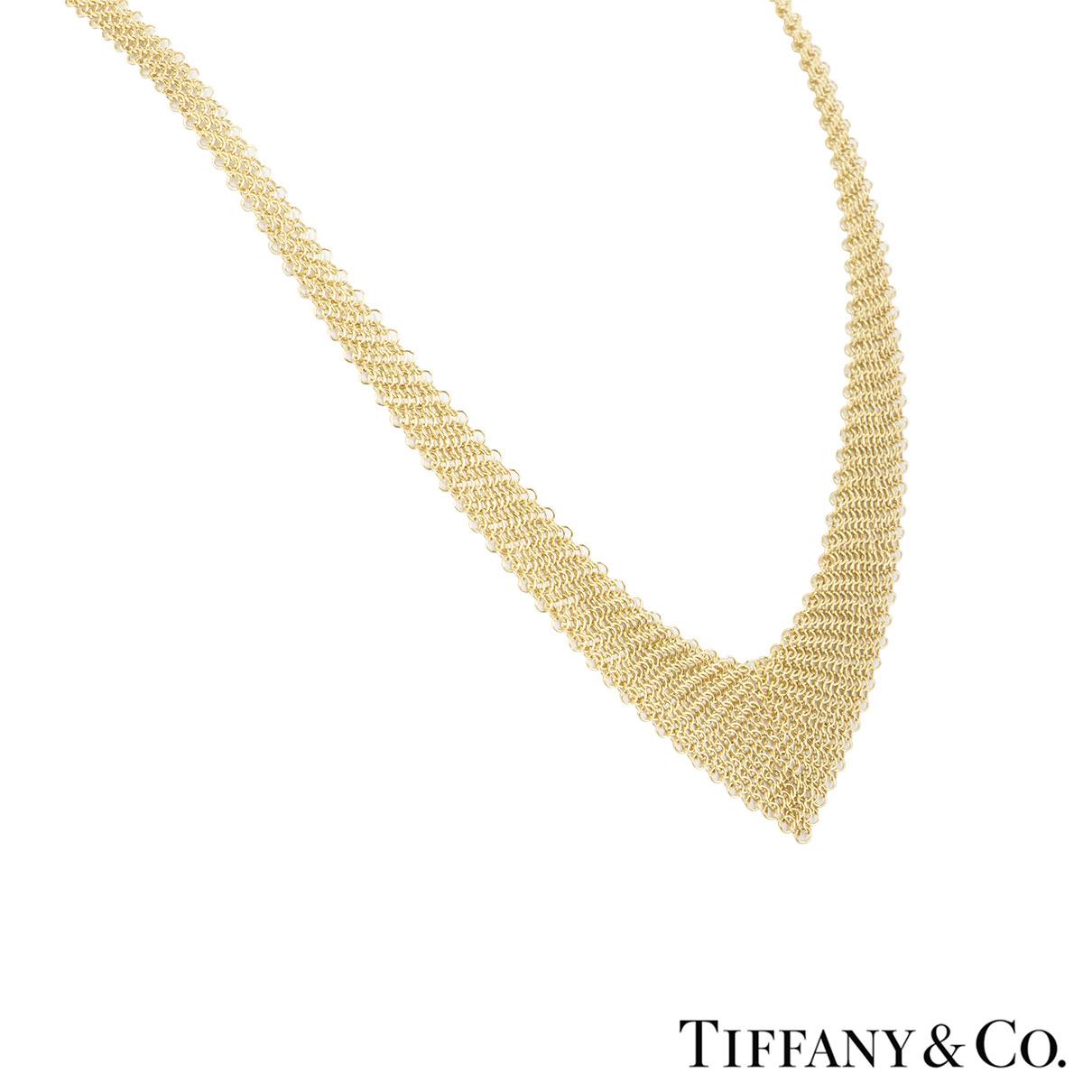 Tiffany & Co. Yellow Gold Elsa Peretti Mesh Bib Necklace